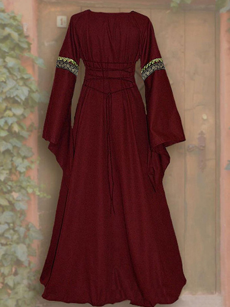 Milanoo Vintage Dress 1950s Red Layered Buttons Short Sleeves Turndown Collar Pleated Swing Dress