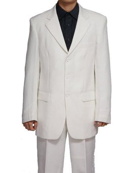 Men's White Notch Lapel 3 Button Single Breasted Two Piece Suit