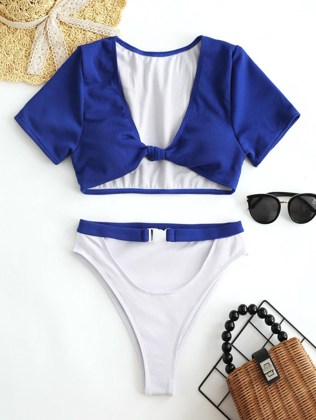 Belt Tie Front Sexy Bikinis Swimsuits High Waist Cut Out High Fork Women Swimwear
