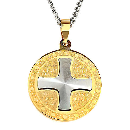 Mens Lord's Prayer Two-Tone Stainless Steel Pendant Necklace, One Size , No Color Family