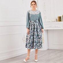 Lantern Sleeve Guipure Lace Yoke Top & Floral Skirt Set