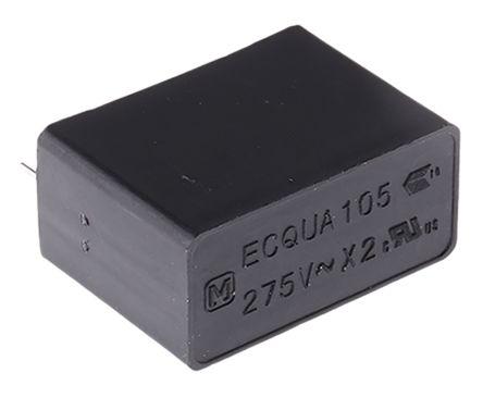 Panasonic 1μF Polypropylene Capacitor PP 275V ac ±20% Tolerance Through Hole ECQUA Series (5)