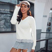 Contrast Lace Hem Raglan Sleeve Sweater