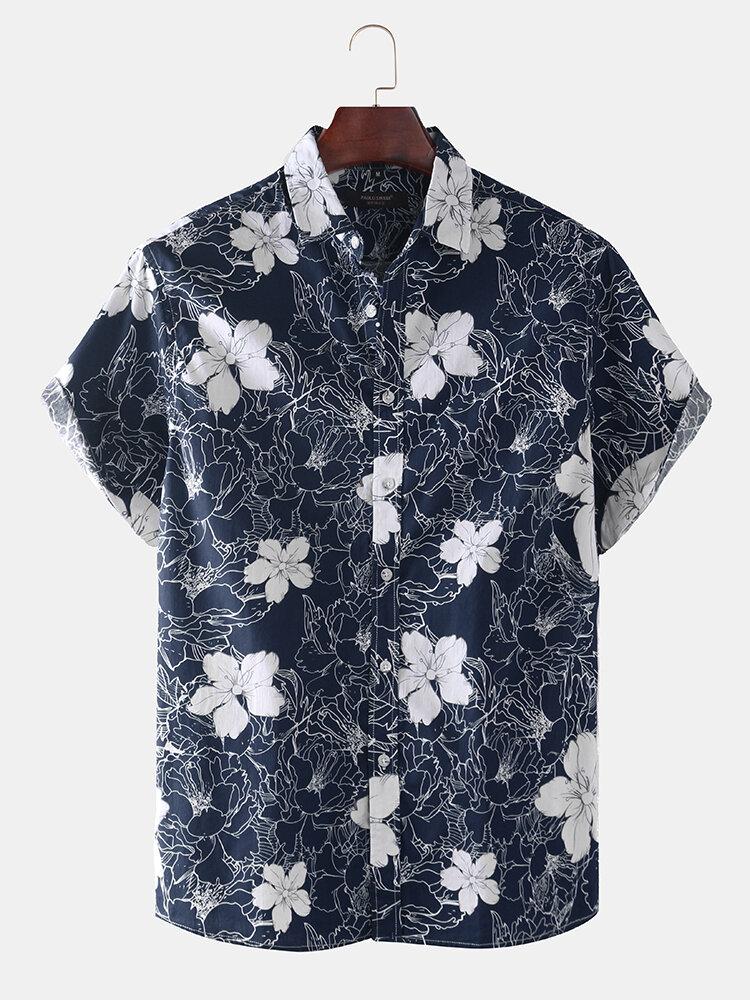 Mens Floral Design Fashion Printed Short Sleeve Loose Shirts