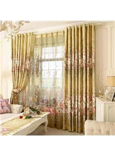 Decoration and Blackout Fresh Style Nice Floral Printing Custom Living Room Curtain