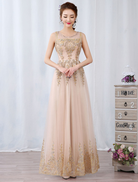 Milanoo Champagne Prom Dresses Long Rhinestone Beaded Sleeveless Floor Length Formal Occasion Dress