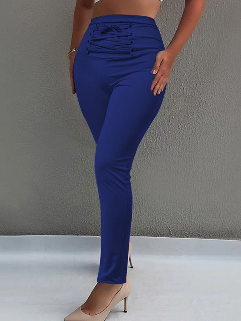 Ericdress Skinny Plain Full Length Lace-Up Casual Pants