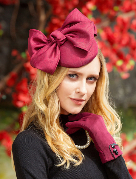 Milanoo Vintage Fascinator Hat Burgundy Bows Winter Hats For Women