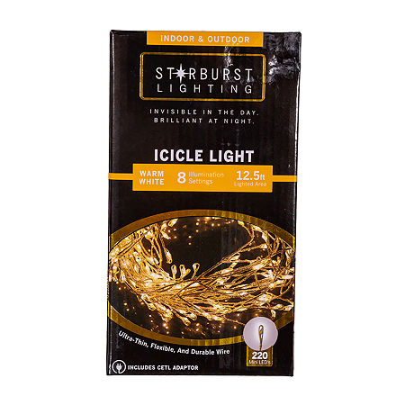 Kurt Adler Warm White Indoor/Outdoor Icicle Lights, One Size , White