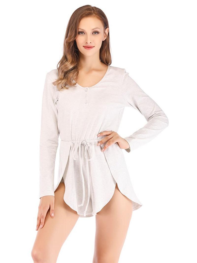Ericdress Plain Long Sleeve Pajama Suit
