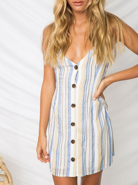 Milanoo Blue Striped Summer Dresses Buttons V Neck Knotted Sleeveless Backless Polyester Sundress Mini Dress