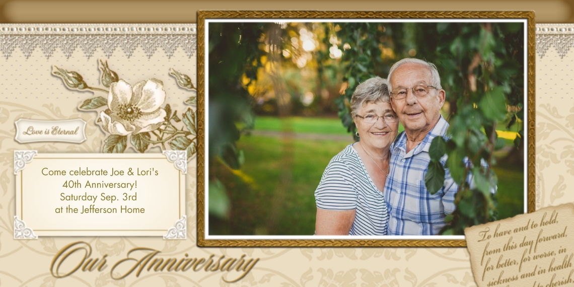 Anniversary Flat Glossy Photo Paper Cards with Envelopes, 4x8, Card & Stationery -Our Anniversary