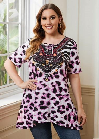Leopard Print Lace Up Plus Size Blouse - 2X