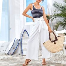 Anchor Embroidery Striped Top & Belted Wide Leg Pants Set