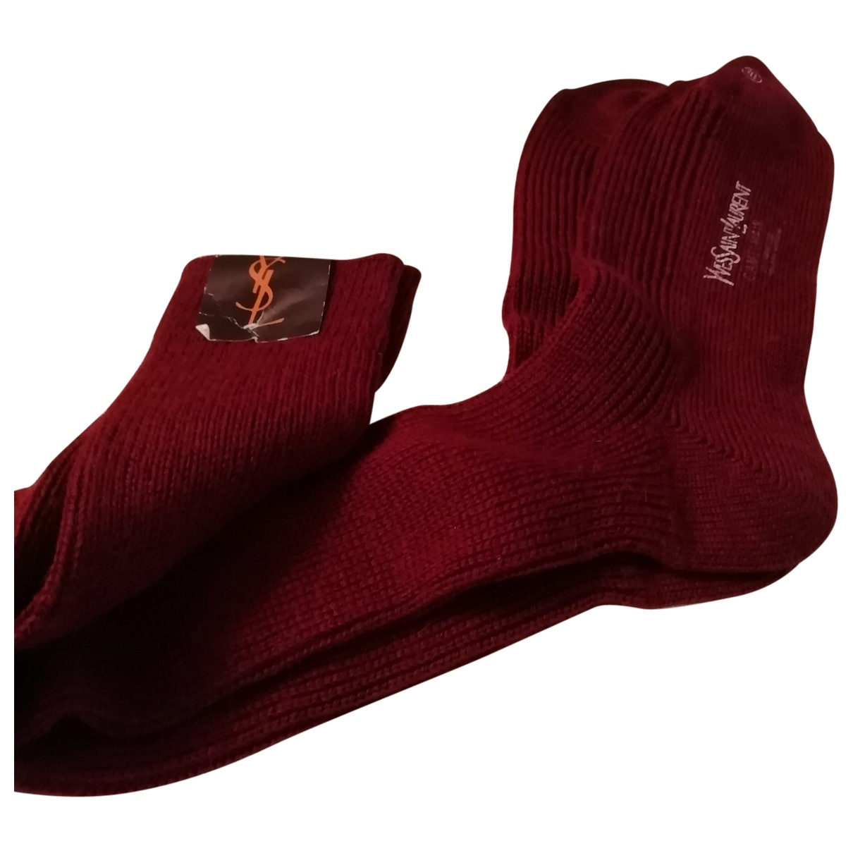 Yves Saint Laurent \N Burgundy Wool Gloves for Men XL International