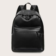 Men Minimalist Leather Look Backpack