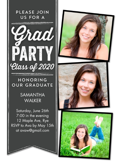 2020 Graduation Invitations Flat Matte Photo Paper Cards with Envelopes, 5x7, Card & Stationery -Graduation Party Ribbon 2020 by Tumbalina