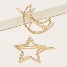 Rhinestone Decor Star & Moon Design Hair Clip 2pcs