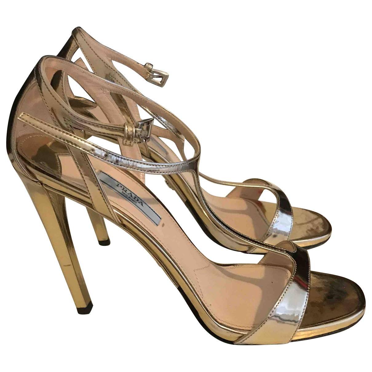 Prada \N Gold Patent leather Sandals for Women 39 EU