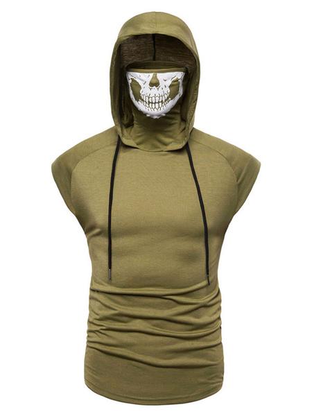 Milanoo Men Casual Tank Hooded Zipper Cotton Blend Drawstring Sleeveless Summer Daily Tank