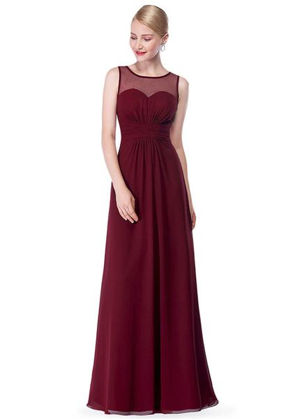 Milanoo Chiffon Evening Dresses Pink Bridesmaid Dresses A Line Illusion Sleeveless Pleated Floor Length Party Dresses
