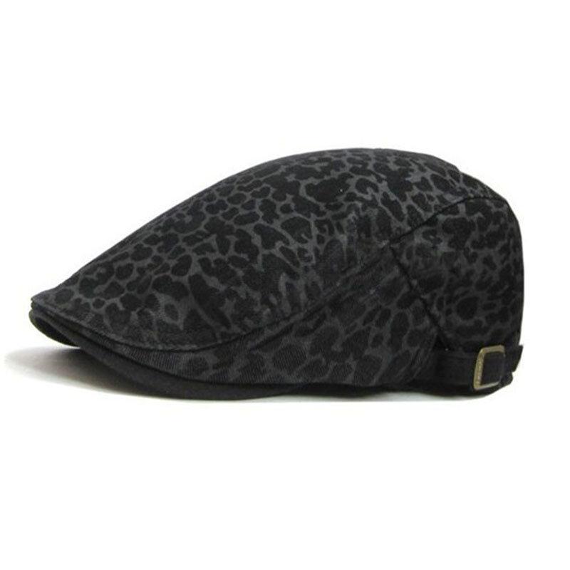 Men's Casual Beret Caps Leopard Forward Cap British Cap Hat