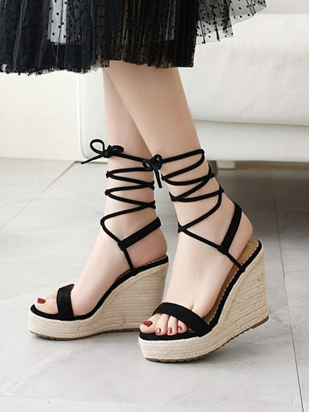 Milanoo Wedge Sandals For Women Charming Micro Suede Upper Round Toe Ankle Cross Strap Wedge Sandals