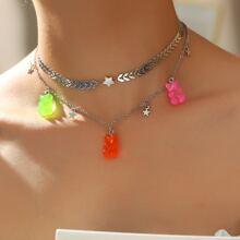 2pcs Star Bear Charmed Necklace