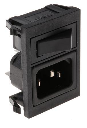 Bulgin C14 Snap-In IEC Connector Male, 10A, 250 V ac