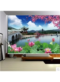 3D Unique Buildings and Blooming Lotus Printed Chinese Style Decoration Curtain Roller Shade