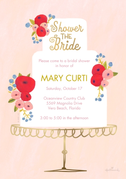 Bridal Shower 5x7 Cards, Premium Cardstock 120lb, Card & Stationery -Floral Cake Bridal Shower
