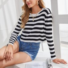 Black And White Striped Crop Sweater