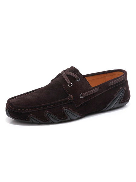 Milanoo Mens Loafers Moccasin Boat Shoes Suede Driving Shoes in Grey