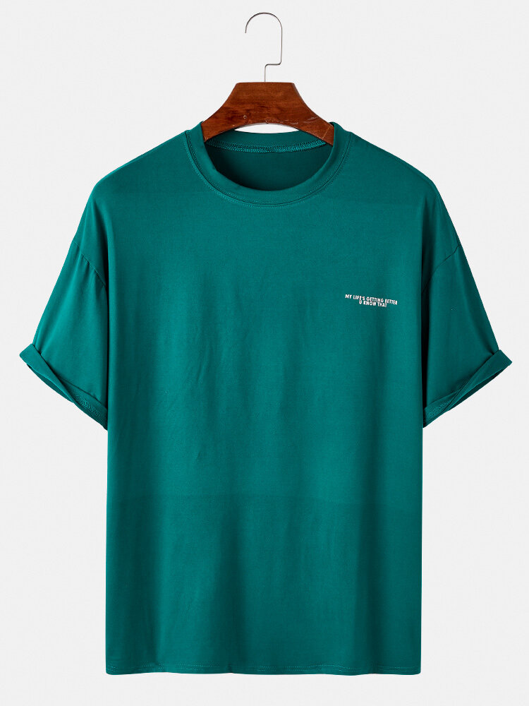 Mens Cotton Solid Color Slogan Print Loose Casual Thin O-Neck T-Shirts