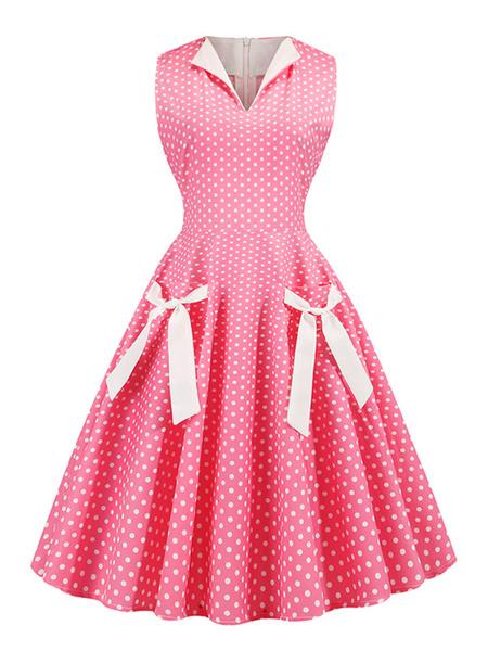 Milanoo Swing Dress 1950s Polka Dot Bows Sleeveless Summer Dress