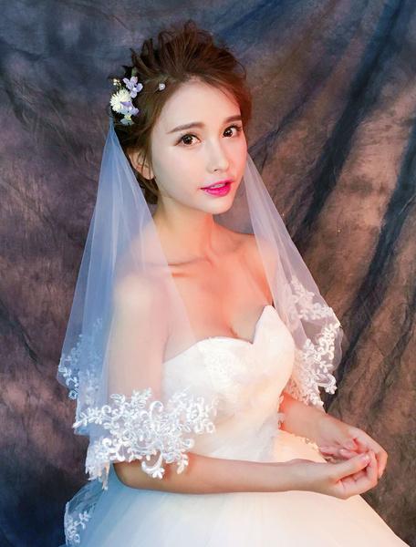 Milanoo Wedding Bridal Veil Lace Applique Edge 1 Tier Ivory Elbow Length Veil