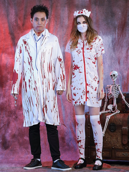 Milanoo Halloween Costumes Doctor Men's White Overcoat Halloween