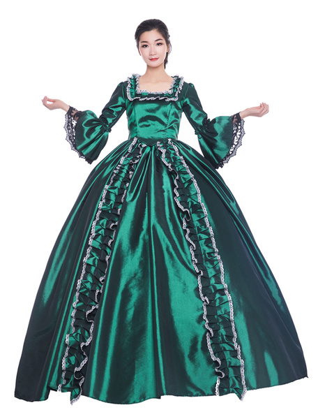 Milanoo Victorian Dress Costume Women's Dark Green Trumpet Short Sleeves Square Neckline Ball Gown Victorian Era Style Vintage Clothing Halloween