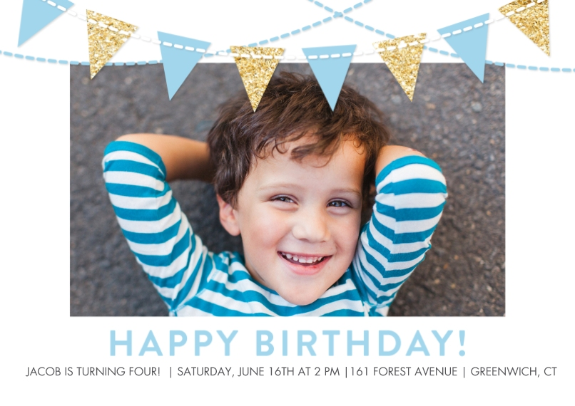 Kids Birthday Party Invites 5x7 Cards, Premium Cardstock 120lb with Rounded Corners, Card & Stationery -Birthday Flags Glitter Blue