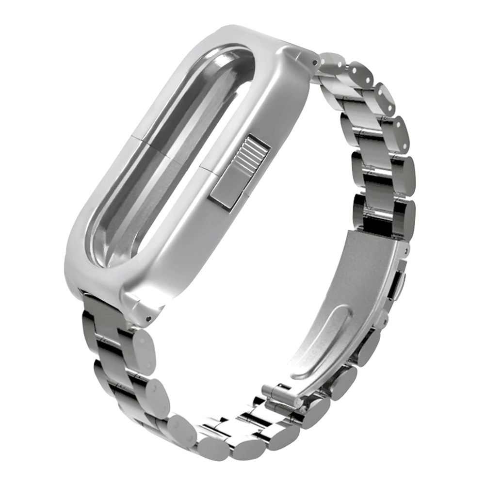 Replaceable Steel Wrist Strap For Xiaomi Mi Band 3 Smart Bracelet - Silver