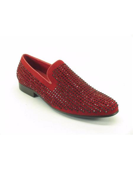 Men's Carrucci Fashionable Suede Studs Leather Lined Red Dress Shoes