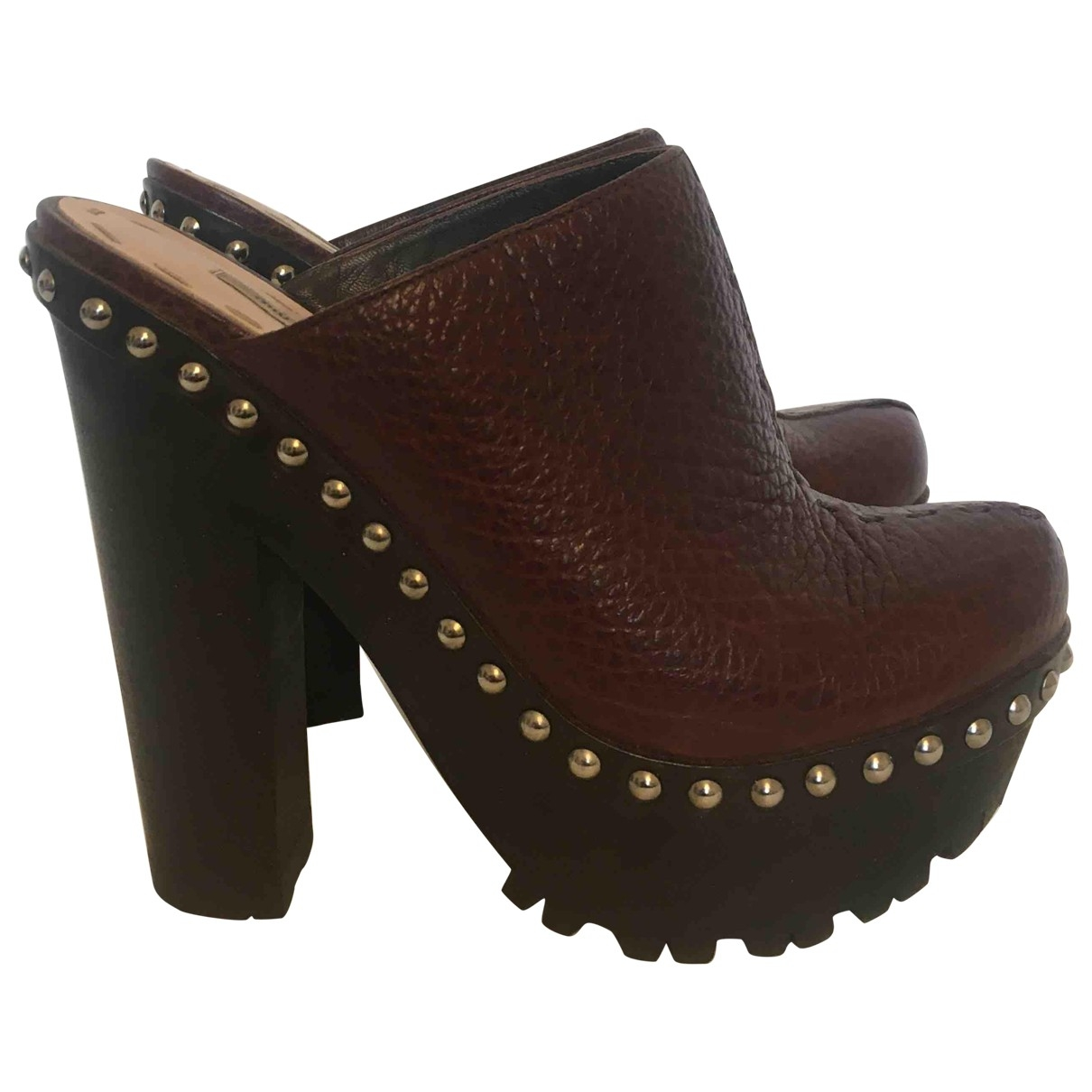Miu Miu \N Brown Leather Mules & Clogs for Women 36.5 EU
