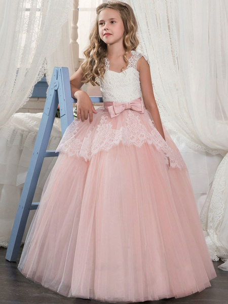 Milanoo Flower Girl Dresses Soft Pink Kids Formal Dress Lace Bows A Line Girls Pageant Dress