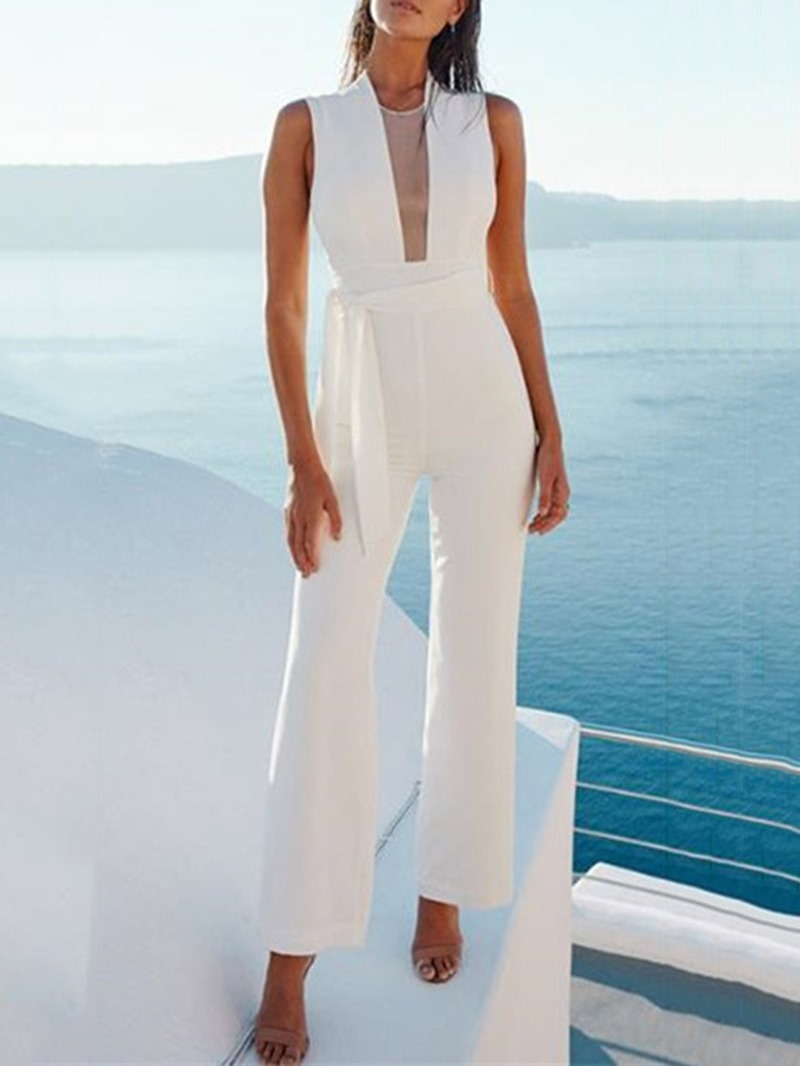 Ericdress Plain Patchwork High Waist Slim Full Length Jumpsuit