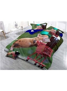 Happy Pig Pushing Cart Wear-resistant Breathable High Quality 60s Cotton 4-Piece 3D Bedding Sets