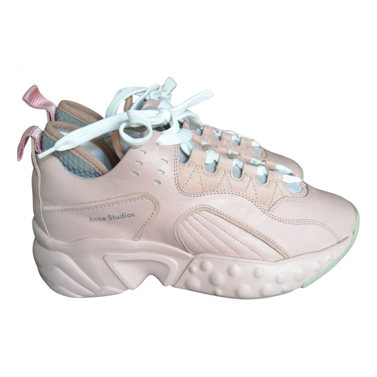 Acne Studios Manhattan Pink Leather Trainers for Women 40 EU