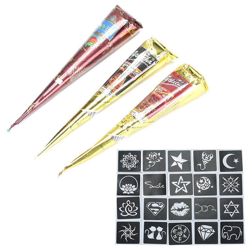 3 Colors Henna Tattoo Pigment Set With 20Pcs Tattoo Template Body Art Pigment