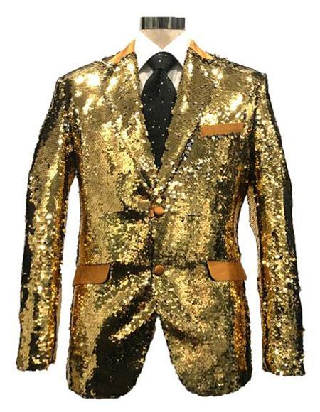 MDD483 Mens Reversible Sequin Silver & Gold Blazer with