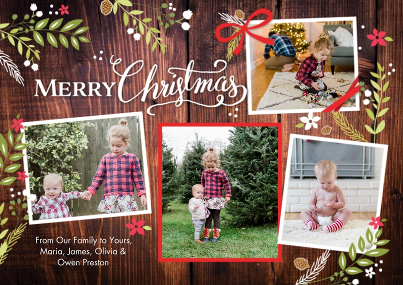 Christmas Photo Cards 5x7 Cards, Standard Cardstock 85lb, Card & Stationery -Christmas Rustic Floral Frame Snapshots