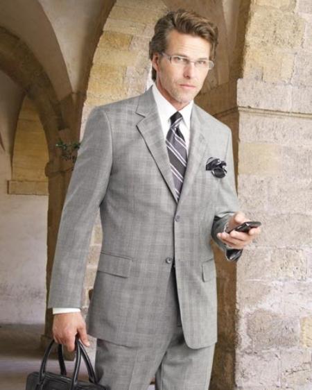 2 Btn Flat Front Pants Plaid Side Vents Supers Pick Stitch Suit